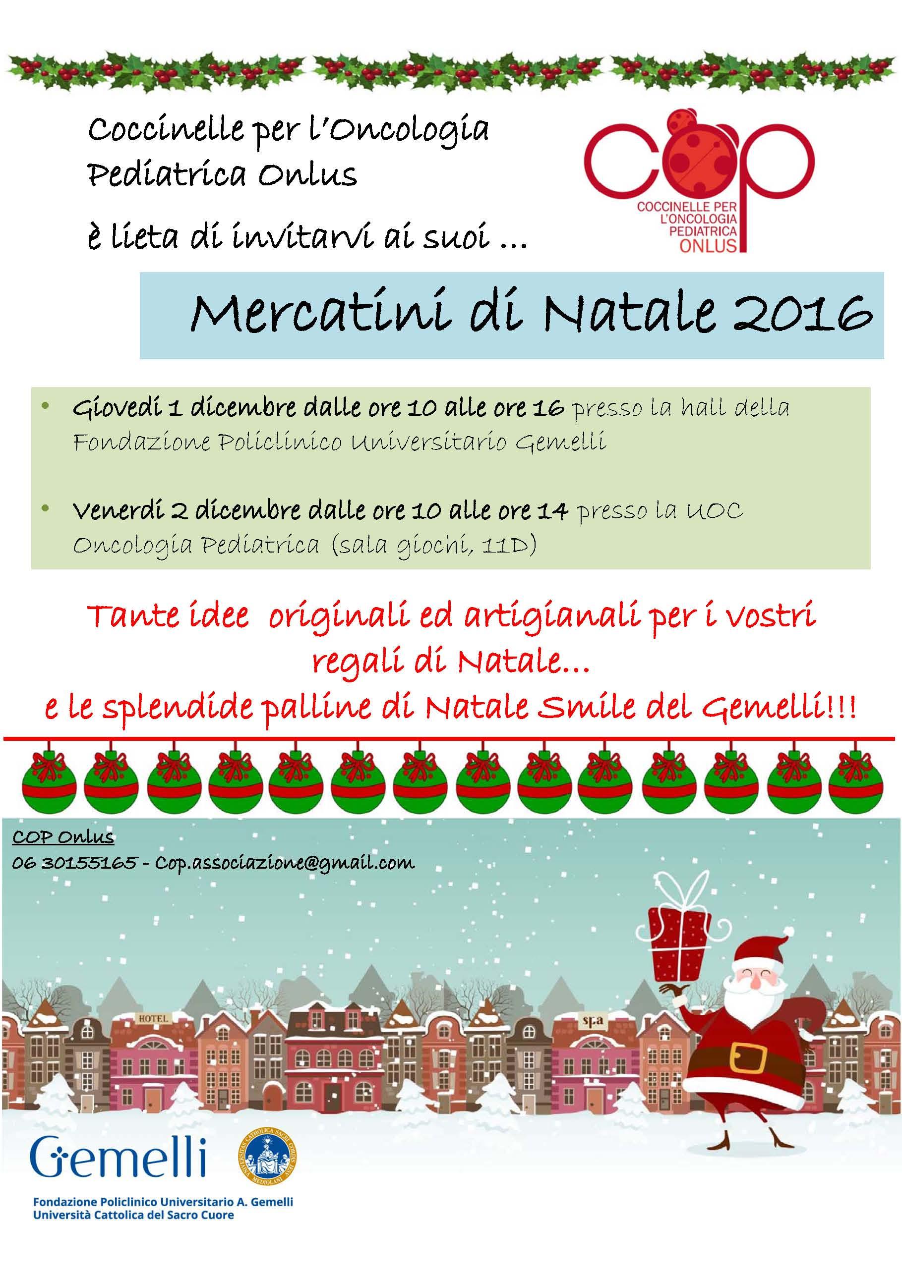 Regali Di Natale Onlus.Cop Coccinelle Per L Oncologia Pediatrica Onlus Tornano I